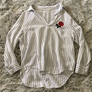 Striped Blouse with Rose Embroidery
